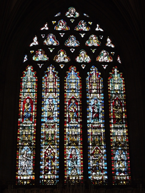 Stained glass in Wells Cathedral