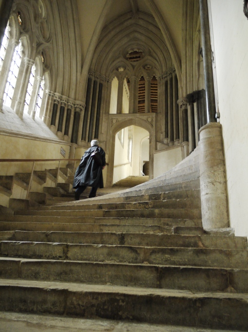 Chapter house steps and man