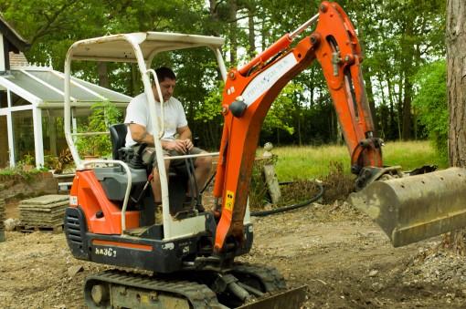 Shane wearing a digger