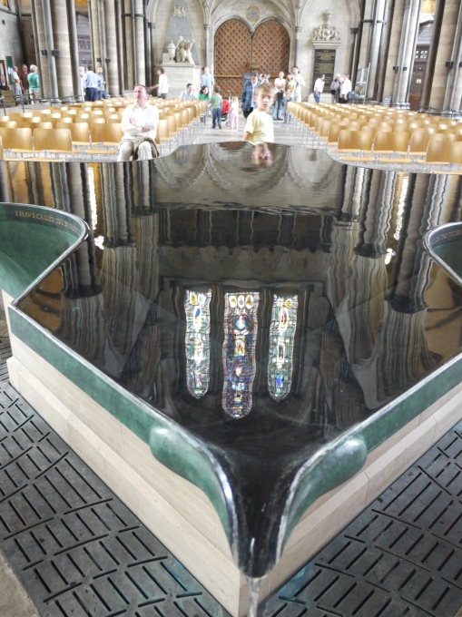 Reflections in a font, Salisbury Cathedral
