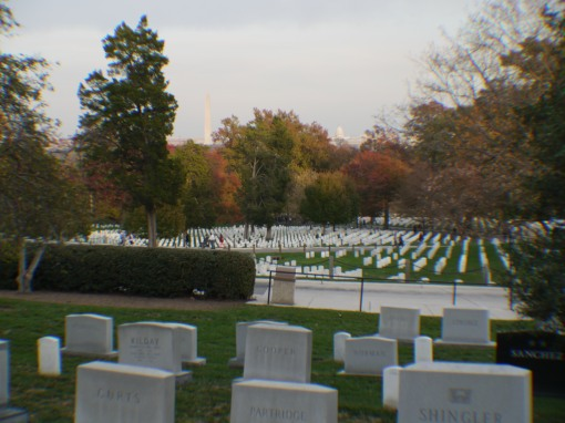 The Capitol and Washington Memorial over Arlington cemetery