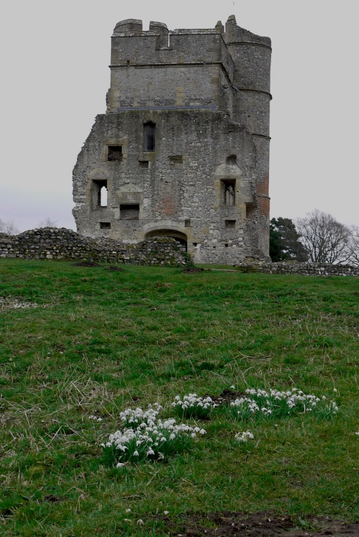 A ruin in winter with snowdrops