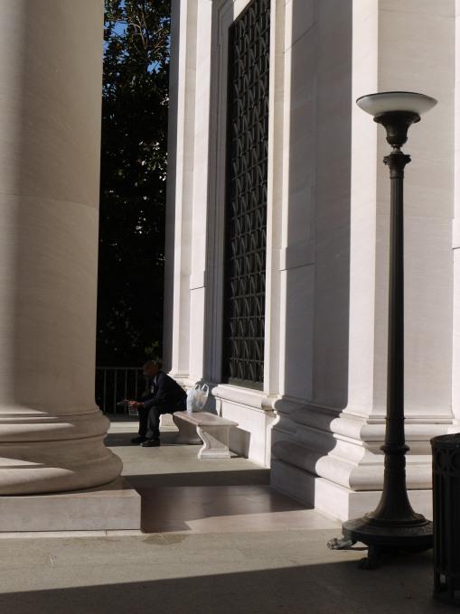 Man amongst the columns