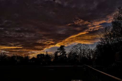 Cold Ash Cricket pitch, winter dusk.